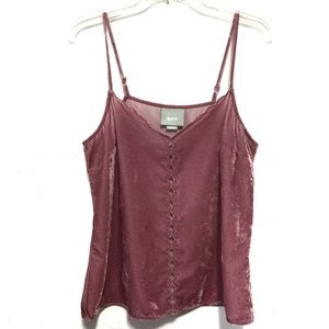 Meave Pink Velour Tank Cami Top Size Small.